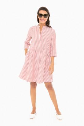 Washed Red Striped Royal Shirt Dress