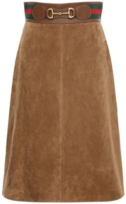 Gucci Suede Skirt W/ Web & Horsebit Details