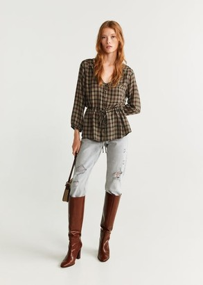 MANGO Checked frill blouse