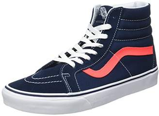 Vans Men's UA SK8-Hi Reissue Hi-Top Sneakers, Leather Dress Blues/Neon Red, 7 UK 40 1/2 EU