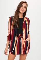 Missguided Burgundy Striped Gathered Sleeve Blazer