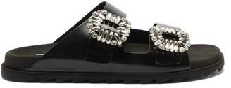Roger Vivier Slidy Crystal-buckled Leather Sandals - Black