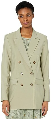 WAYF Finn Double Breasted Blazer (Olive) Women's Clothing