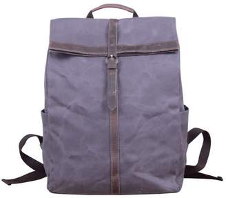Touri 15'' Fold-Over Waxed Canvas & Leather Backpack In Anchor Grey