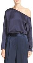 Tibi Women's Asymmetrical Off The Shoulder Silk Top