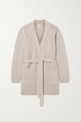 Max Mara Leisure Cognac Belted Metallic Ribbed-knit Cardigan - Beige