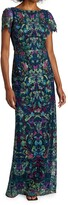 Thumbnail for your product : Marchesa Notte Peacock Embroidered Tulle Dress