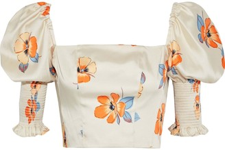 Nicholas Cropped Shirred Floral-print Satin-twill Top
