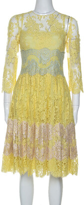 Dolce & Gabbana Yellow Lace Midi Dress M