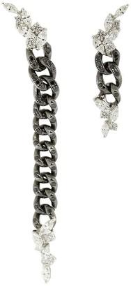 YEPREM 18kt White Gold Diamond Chain Drop Earrings