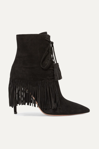 c8bb50c6841 Mustang 105 Fringed Suede Ankle Boots - Black