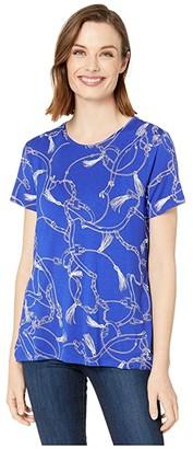 Lauren Ralph Lauren Print Jersey Tee (Blue Glacier Multi) Women's Clothing