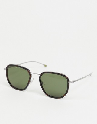 HUGO BOSS round sunglasses in tortoise shell