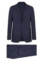 Lardini Navy Stretch Wool Suit
