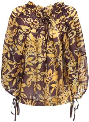 L'Autre Chose Printed Silk Crepe Shirt W/ Drawstring