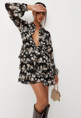 Missguided Black Floral Print Tiered Shirt Dress