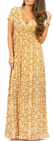 Off-White California Trading Group Women's Maxi Dresses OffWhtGold & Gold Snake Surplice Maxi Dress - Women