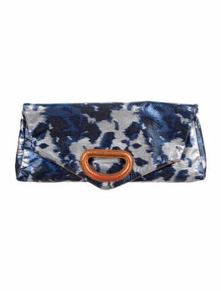 Dries Van Noten Metallic Foldover Clutch Blue