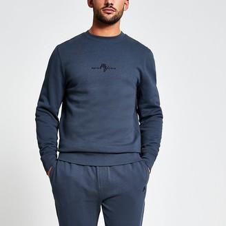River Island Maison Riviera dark grey slim fit sweatshirt