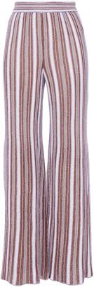 M Missoni Pleated Metallic Striped Crochet-knit Wide-leg Pants