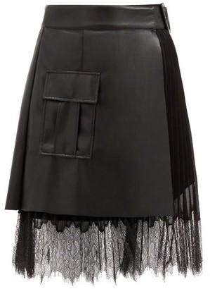 Self-Portrait Faux-leather And Chiffon Wrap Skirt - Black