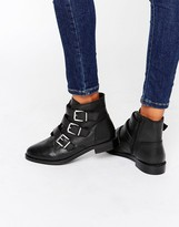 Carvela Multi Buckle Flat Leather Boot
