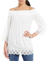 Daniel Cremieux Adele Eyelet Off-the-Shoulder Tunic