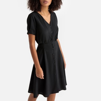 Button-Through Mid-Length Dress with Short Sleeves