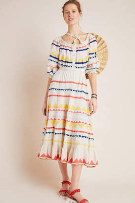Carolina K. Saria Smocked Rainbow Midi Dress