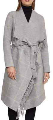 BCBGMAXAZRIA Plaid Wool-Blend Wrap Coat