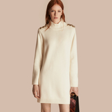 Burberry Regimental Detail Wool Cashmere High-neck Dress