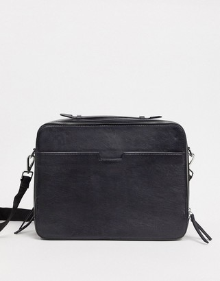 Asos DESIGN leather satchel in black with zip around detail