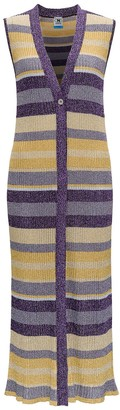 M Missoni Glitter Striped Sleeveless Long Knit Cardigan