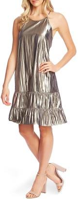 Cece By Cynthia Steffe Halter Neck Gold Lame Shift Dress