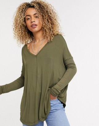 Free People Moonshine v-neck floaty jersey top in green