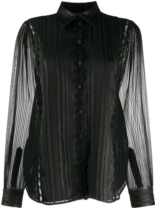 Ports 1961 Striped Sheer Blouse