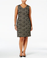 Kasper Plus Size Bonded Lace Sheath Dress
