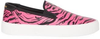 Saint Laurent Venice Zebra-Stripe Leather Slip-On Sneakers
