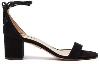 Aquazzura City 50 Block-heel Suede Sandals - Womens - Black
