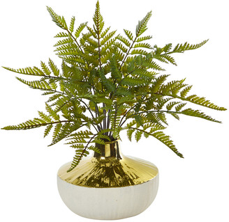 Nearly Natural Fern Artificial Plant In Gold And Cream Elegant Vase