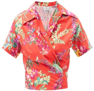 Etro Giglio Floral-print Wrap-front Cotton Shirt - Red Multi