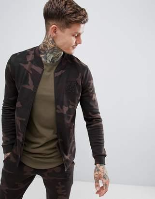 SikSilk zip jersey bomber jacket in camo-Green