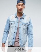 Asos TALL Denim Jacket in Mid Wash With Rips