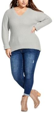 City Chic Trendy Plus Size Soft V-Neck Sweater