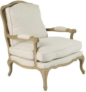 OKA Chantal French-Style Armchair, Oak Frame - White