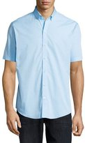 Zachary Prell Dot-Print Woven Short-Sleeve Shirt, Blue