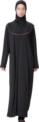 Zhuhaixmy Women Muslim Middle East Arabic Kaftan Maxi Dress with Hijab Modest Islamic Robe Full Length Malaysia Ethnic Clothing Apparel Abaya Girls Wear for Ramadan