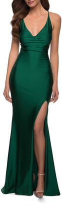 La Femme Stretch Jersey Strappy-Back Gown with Slit