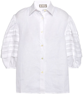 Paul & Joe Pleated Linen-gauze Shirt