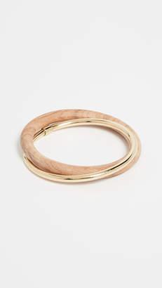 Soko Brass and Teak Interlocking Bangle Bracelets